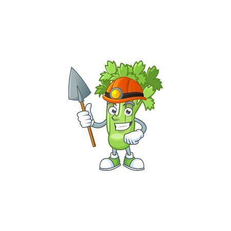 Cool Miner celery plant cartoon character design style