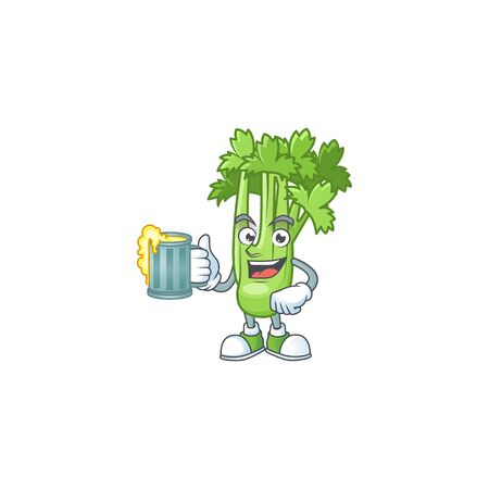Happy face celery plant with a glass of beer