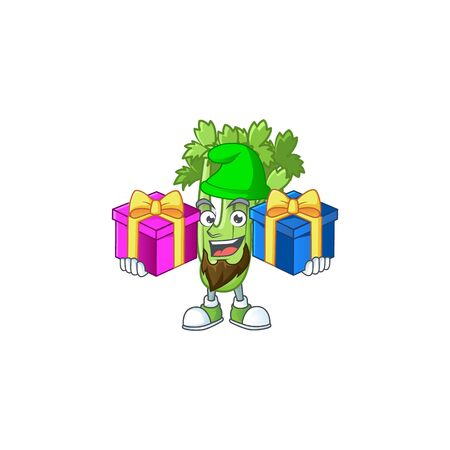 Cheerful celery plant cartoon design with Christmas gift boxes 向量圖像