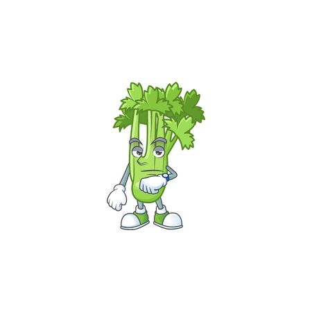 Picture of waiting celery plant on cartoon mascot style design. Vector illustration Ilustração