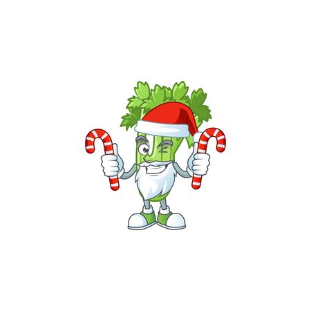 Celery plant Cartoon character in Santa Claus with candy 向量圖像