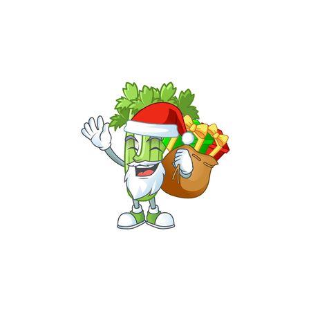 Santa Claus with gift bag celery plant Cartoon design