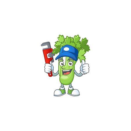 Cool Plumber celery plant cartoon character mascot design