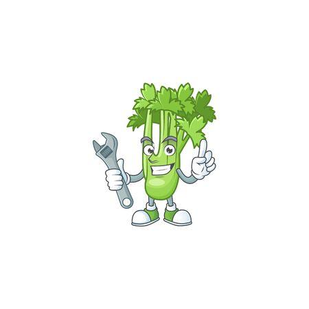 Smart and Professional Mechanic celery plant cartoon character 向量圖像