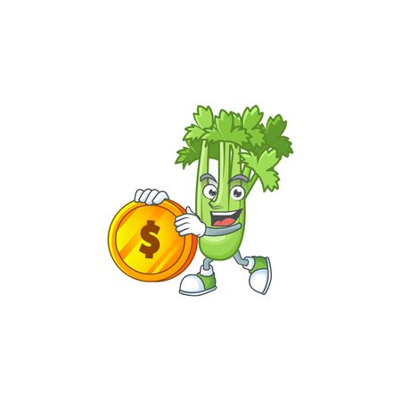 happy face celery plant cartoon character with gold coin