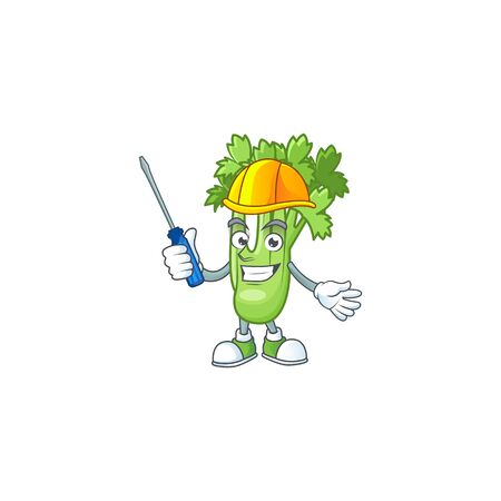 Cute and cool automotive celery plant presented in mascot design