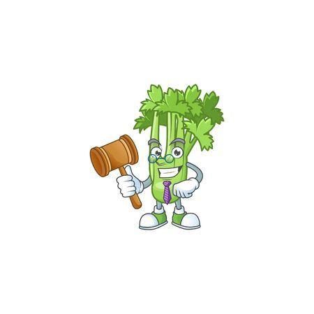 A professional judge celery plant presented in cartoon character design