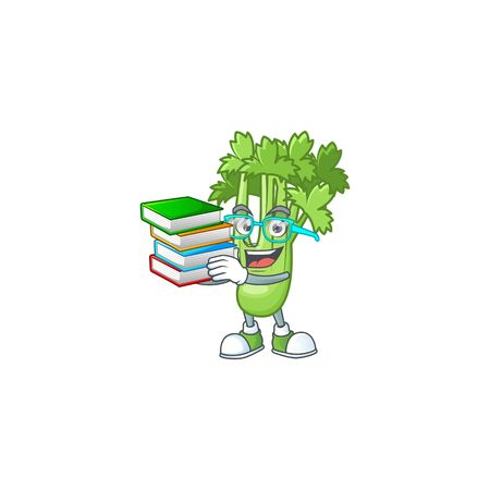 Student with book celery plant on mascot cartoon character style
