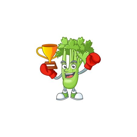 Super cool Boxing winner celery plant in mascot cartoon style