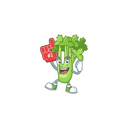 Funny celery plant mascot cartoon style with Foam finger. Vector illustration Ilustração