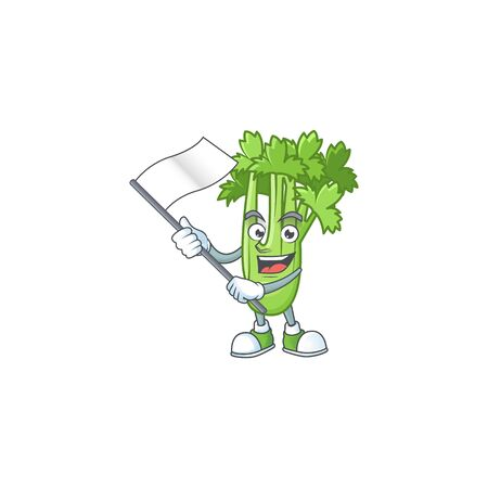 cute celery plant cartoon character design holding a flag 向量圖像