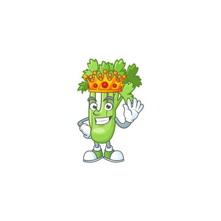 Cool King of celery plant on cartoon character style