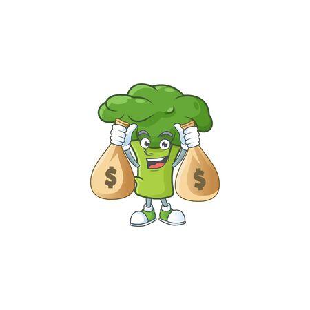 Happy green broccoli cartoon character with two money bags. Vector illustration Иллюстрация