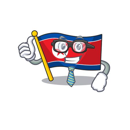 Cool Businessman flag north korea Scroll cartoon character with glasses. Vector illustration