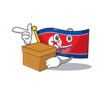 Flag north korea Scroll cartoon character bringing a box. Vector illustration
