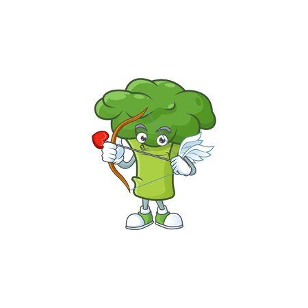 cartoon character of green broccoli Cupid having arrow and wings Иллюстрация