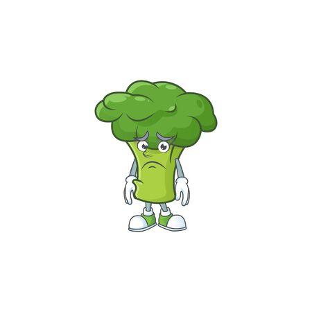 Afraid green broccoli Cartoon character mascot design. Vector illustration