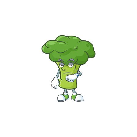 Picture of waiting green broccoli on cartoon mascot style design. Vector illustration  イラスト・ベクター素材