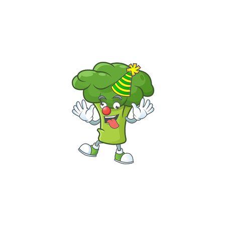 Funny Clown green broccoli on cartoon character mascot design. Vector illustration