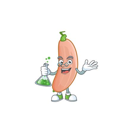 Smart banana squash cartoon character holding glass tube. Vector illustration Foto de archivo - 136233440