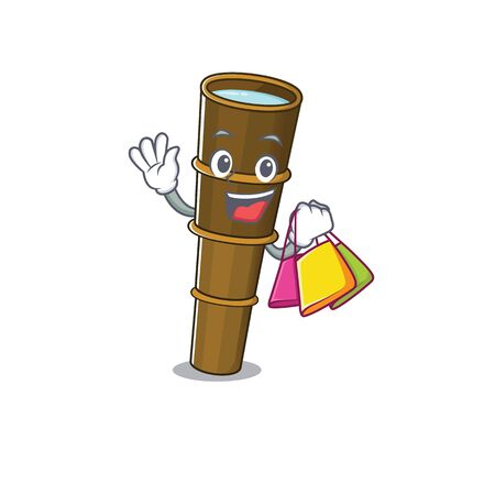 Happy face telescope Scroll mascot style waving and holding Shopping bag. Vector illustration