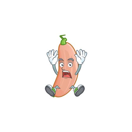 Cartoon character of banana squash style with shocking gesture. Vector illustration