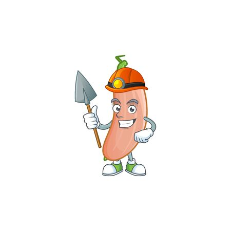 Cool Miner banana squash cartoon character design style. Vector illustration
