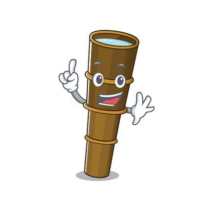One Finger telescope Scroll in mascot cartoon character style. Vector illustration Illusztráció