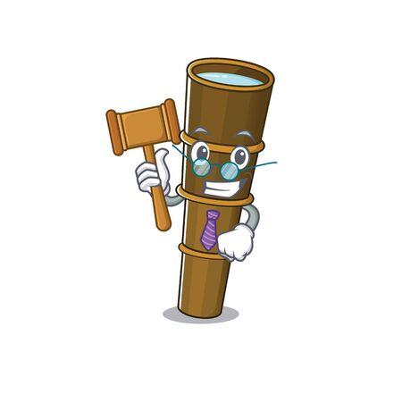 Professional Judge telescope Scroll presented in cartoon character design. Vector illustration