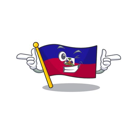 Flag haiti Scroll mascot cartoon design with Wink eye. Vector illustration Ilustração