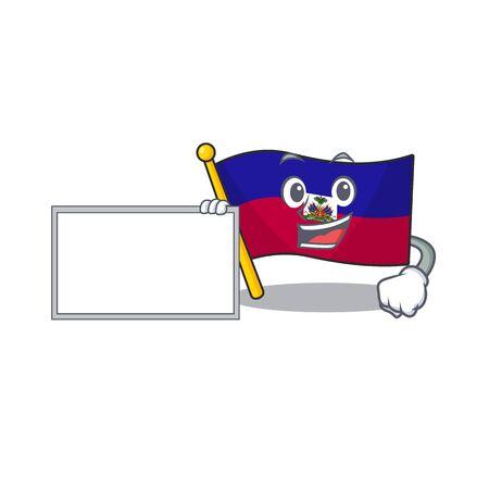 Flag haiti Scroll with board cartoon mascot design style. Vector illustration