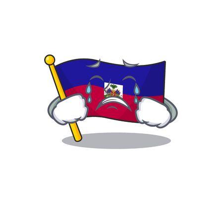 Sad Crying flag haiti Scroll cartoon character design Vecteurs