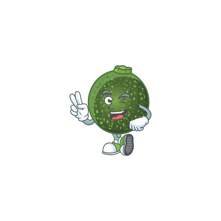 Gem squash cartoon mascot style with two fingers. Vector illustration