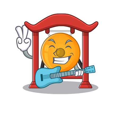 Supper cool chinese gong Scroll cartoon performance with guitar. Vector illustration Stock Illustratie
