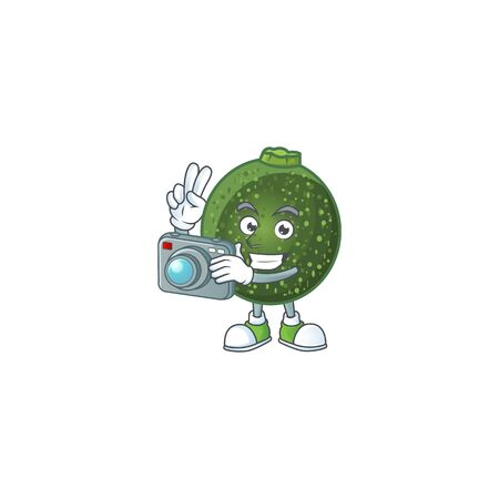 Smart Photographer gem squash cartoon mascot with a camera. Vector illustration