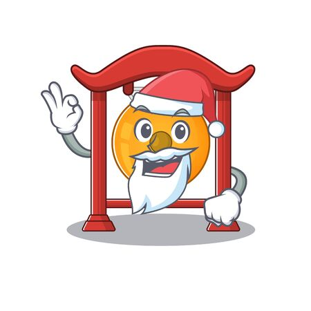 Santa chinese gongScroll cartoon character design with ok finger