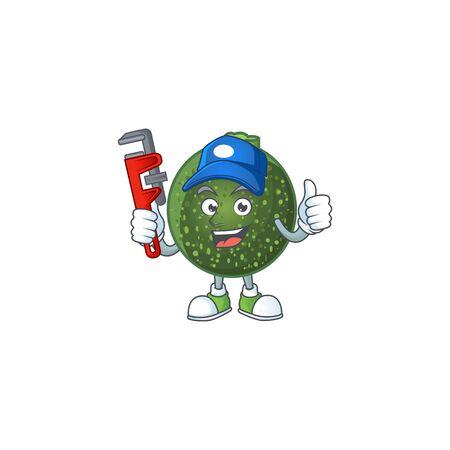 Cool Plumber gem squash cartoon character mascot design. Vector illustration