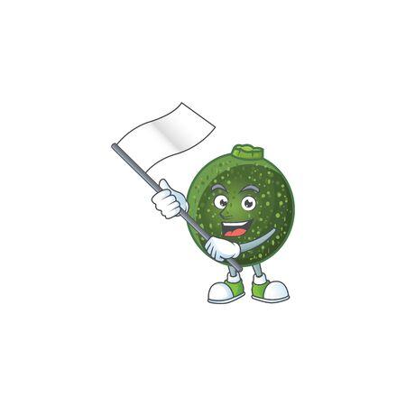 cute gem squash cartoon character design holding a flag