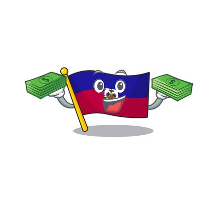 Very happy flag haiti Scroll character with money on hands