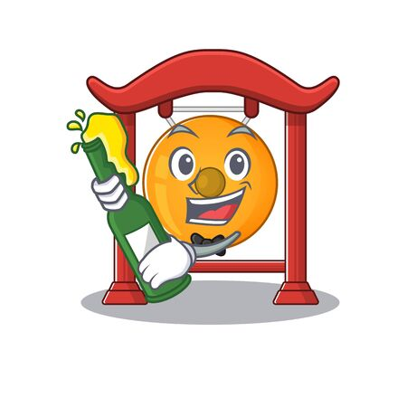 Chinese gong Scroll with bottle of beer mascot cartoon style. Vector illustration