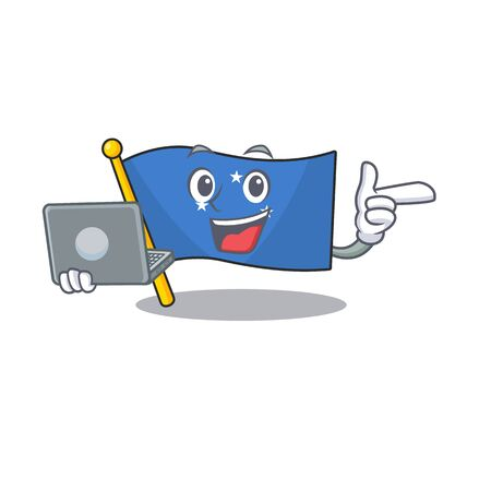 Cute and smart flag micronesia Scroll working with laptop. Vector illustration Vektorové ilustrace