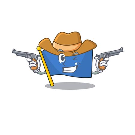 Flag micronesia Scroll mascot performed as a Cowboy with guns. Vector illustration