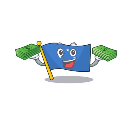 Very happy flag micronesia Scroll character with money on hands. Vector illustration