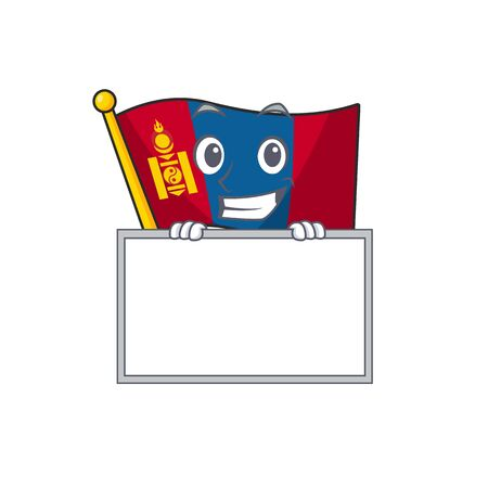 Flag mongolia Scroll cartoon character style grinning with board. Vector illustration