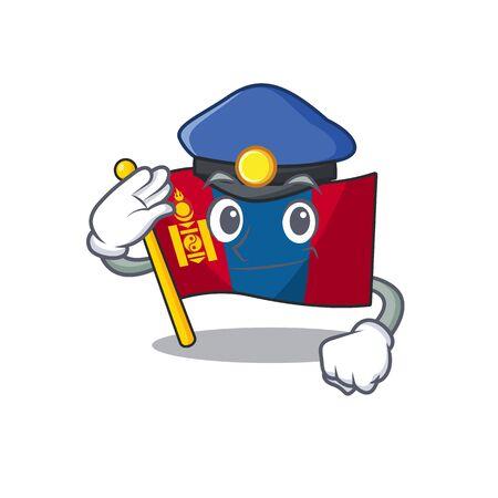 Drapeau mongolie Scroll Cartoon style mascotte en tant qu'officier de police. Illustration vectorielle