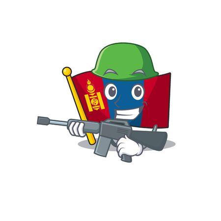 A mascot of flag mongolia Scroll Army with machine gun. Vector illustration Illusztráció