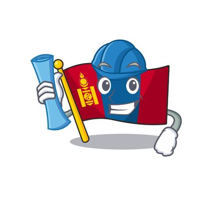 Cheerful Architect flag mongolia Scroll with blue prints and blue helmet. Vector illustration