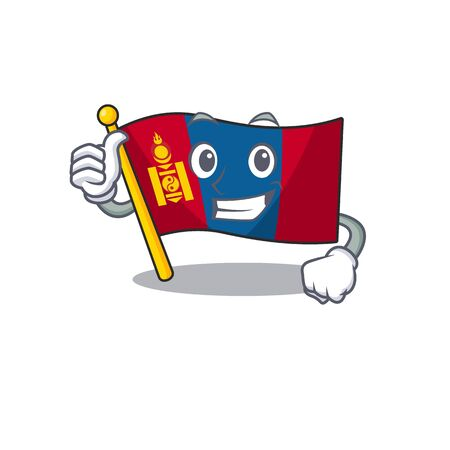 Smiley mascot of flag mongolia Scroll making Thumbs up gesture
