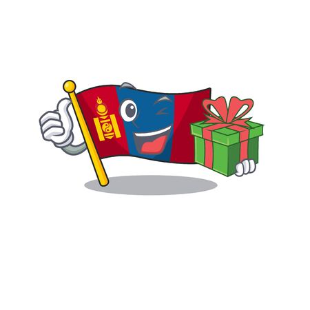 happy face flag mongolia Scroll character with gift box. Vector illustration