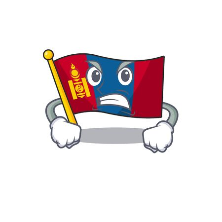 angry face flag mongolia Scroll cartoon character design. Vector illustration